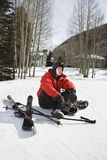 Teenager with ski gear. Stock Images