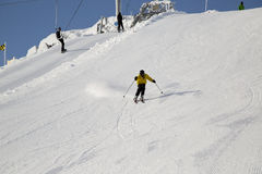 Teenager skiing. On a ski slopes in French Alps Stock Photos
