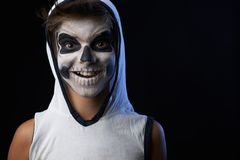 Teenager with a skull makeup Royalty Free Stock Images