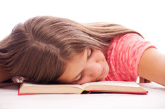 Teenager sleep on the book Stock Photography