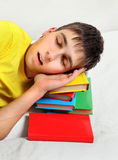 Teenager sleep on the Books Royalty Free Stock Photo