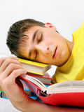 Teenager sleep on the Books Royalty Free Stock Photos
