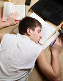 Teenager sleep on the Books Royalty Free Stock Images