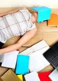 Teenager sleep on the Books Stock Photos