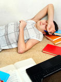 Teenager sleep with the Books Royalty Free Stock Photo