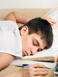 Teenager sleep on the Books Stock Images