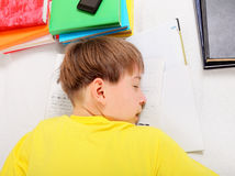 Teenager sleep with a Books Stock Photography