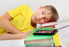 Teenager sleep with a Books Stock Photos