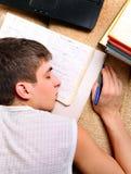 Teenager sleep with a Books Stock Photo