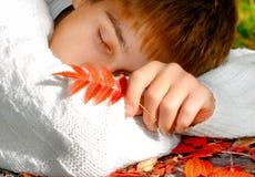 Teenager sleep outdoor Stock Photos