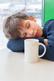 A teenager is sleeping in cafe Royalty Free Stock Image