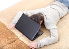 Teenager sleeping with notebook Stock Images