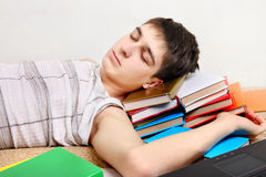 Teenager sleeps on the Books Royalty Free Stock Photography