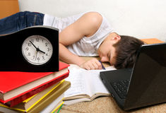 Teenager sleeps after Learning Royalty Free Stock Photos