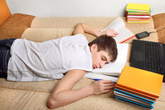 Teenager sleeps after Learning Royalty Free Stock Photography