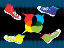 Teenager sneakers social media Royalty Free Stock Photos