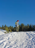 Teenager on snowboard Royalty Free Stock Images