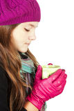 Teenager in spring clothes holding cup of tea Royalty Free Stock Images