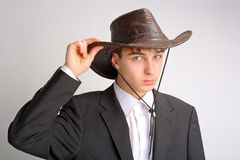 Teenager in stetson hat. Teenager portrait in the studio in the stetson hat Royalty Free Stock Photos