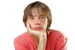 Teenager with a straight hair Stock Image