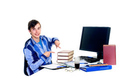 Teenager student doing homework Stock Images