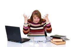 Teenager student doing homework Royalty Free Stock Photos