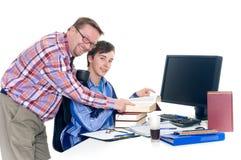 Teenager student doing homework stock image