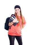 Teenager student holding backpack and books Royalty Free Stock Photos