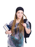 Teenager student holding backpack, books and look Stock Photography