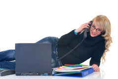 Teenager Student On Phone Royalty Free Stock Image