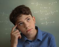 Teenager student school boy thinking stock images