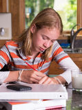 Teenager student working on school homework Royalty Free Stock Photography