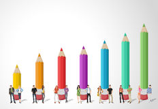 Teenager students in front of colored pencil chart. Template for advertising brochure with Teenager students in front of colored pencil chart Stock Images
