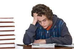 Teenager studying for examination Royalty Free Stock Images