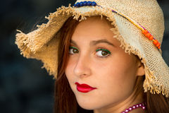 Teenager in summer hat. Beautiful teen girl with red lips and summer hat Stock Images