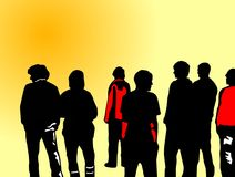 Teenager in the sun. Illustration of a group of teenager in the sun Royalty Free Stock Images