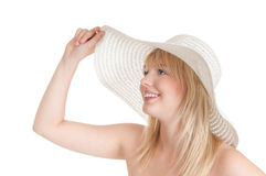 Teenager with sun hat. Beautiful young blond woman with sun hat stock photos