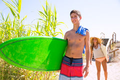 Teenager surfers waling to the beach Royalty Free Stock Photo