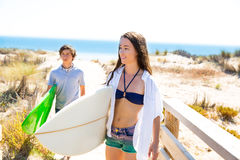 Teenager surfers waling to the beach Stock Images