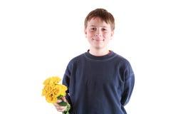 Teenager sveglio con i fiori Fotografia Stock Libera da Diritti