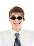 Teenager in Swimming Goggles. Happy Teenager in Swimming Glasses Isolated on the White Background stock photos