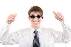 Teenager in Swimming Goggles. Happy Teenager in Swimming Glasses shows his thumb up Isolated on the White Background stock image