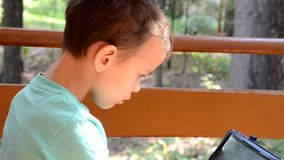 Teenager with Tablet Computer in the Autumn Park. preschooler, schoolboy playing a tablet on a veranda in the summer or stock video footage