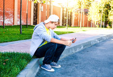 Teenager with Tablet Computer. On the Street royalty free stock images