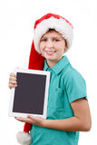 Teenager and tablet on white Stock Images