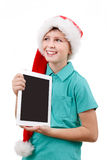 Teenager and tablet on white Royalty Free Stock Photos