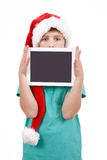 Teenager and tablet on white Stock Photo