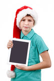 Teenager and tablet on white Royalty Free Stock Images