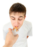 Teenager take a Cigarette Royalty Free Stock Photos