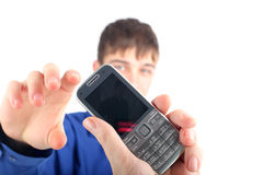 Teenager take phone Royalty Free Stock Photography